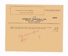 Vintage Commercial Invoice / Imprenta Venezuela / San Juan Puerto Rico / 1947