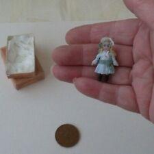 ooak micro miniature doll + gift box/ tiny doll house doll