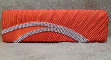 New Red Stylish Pleated Satin Clutch Evening Bag Purse Wedding Bridal