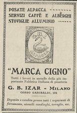 W3544 Posate Alpacca  Cigno - G.B. IZAR - Pubblicità 1927 - Advertising