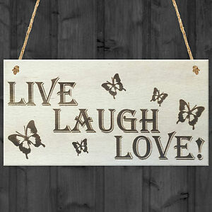 Live Laugh Love Wooden Hanging Plaque Friends Gift Shabby Chic Friendship Sign