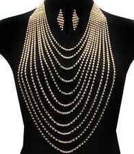 Body Necklace & Earring Set Chain Harness with Gold Rhinestone Women Fashion