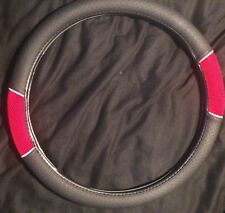 Car Steering Wheel Black Red Rubber Fabric Sports Look
