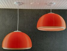 Pair Mid Century Modern Heifetz Rotoflex Large Orange Pendant Chandelier Light
