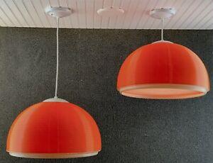 Pair Mid Century Modern Heifetz Rotoflex Large Orange Pendant Chandelier Light