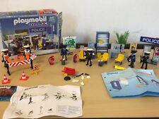 Vintage Playmobil estación de policía 3957 y policías de tráfico Conjunto de punto de verificación 3906