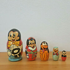 Russian Nesting Dolls Mickey Mouse Disney Collectible Wooden Toys Vintage