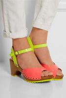 SOPHIA WEBSTER Ava Fluoro Pink & Yellow Patent Leather Sandals Sz 41 U.S 11 EUC