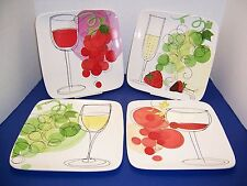 "CIC Vino 4 Dinner Plates 10.25"" Robin Pickens + 4 Hangers Décor Grapes Green Red"