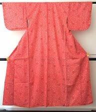 VINTAGE AUTENTICO FATTO A MANO Kimono Giapponese di poliestere per le donne, Rosa (j542)