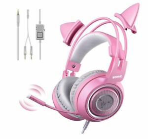 Gaming Headset with Mic for PS4 Xbox One PC Mobile Phone 3.5MM Cat Ear Headphone