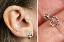 Hollow Heart Tragus Helix Bar Cartilage Ear Earring Screw On