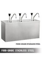 Sauce Pump Dispenser Squeeze Condiment Dispensing 10.5L Stainless Steel 3 Bucket