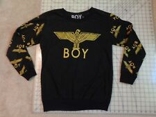 BOY Gold Glitter SWEATSHIRT Mens L Shiny Print THIN Pullover Of London Eagle
