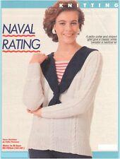 Ladies' DK Striped Inset Sailor Collar Sweater Vintage Knitting Pattern