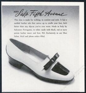 1970 Salvatore Ferragamo woman's white suede shoes photo Saks vintage print ad