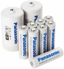 AA Panasonic Eneloop Rechargeable Batteries 1900mAh + Two D Size Battery Adapter