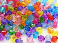 500 Pcs Mixed Acrylic 6mm Faceted Bicone Beads Jewellery Craft Beading Kids F20