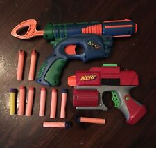 Nerf Single Shot Pistols 2003 2005 Blue/Green Red/Grey + 9 darts lot