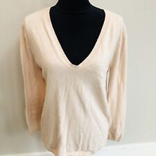 H&M Womens Pale Pink Pull Over Sweater Wool Blend Long Sleeve Size S V Neck