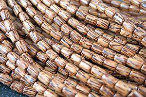 5mm x 8mm Natural Coconut Palmwood Tube Premium Wood Beads 45 beads per pack