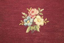 New listing Rose and Flowers Floral Needlepoint Completed Finished Red Maroon Background