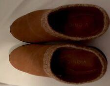 Vionic Arbor Orange Suede Knit Cuff Casual Mule Clogs Shoes Women's Size 9