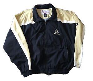 Champion Wake Forest Demon Deacons Black Gold Full Zip Jacket Coat Large