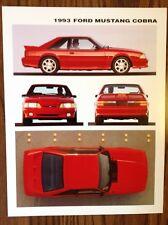 NEW NOS 1993 FORD MUSTANG SVT COBRA DEALER ADVERTISING COLOR TECH SPEC LINE CARD