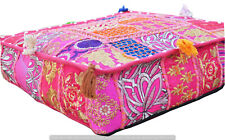 Indian Pink Square Handmade Patchwork Cotton Pouf Ottoman Floor Cushion Cover