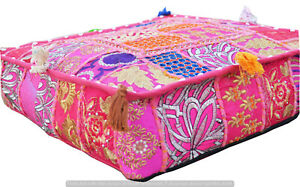 Indian Pink Square Handmade Pouf Ottoman Floor Cushion Cover Patchwork Cotton