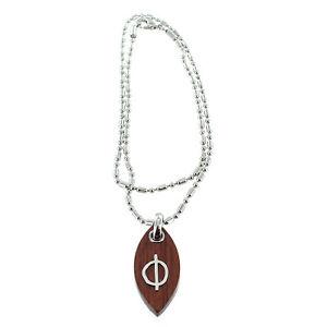 Rochet Roma Polished Wood Earth Symbol Pendant with Chain Included
