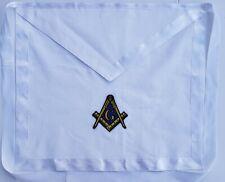 WHITE Cotton Cloth Apron Square & Compass MASONIC COLLAR  SILK Edges