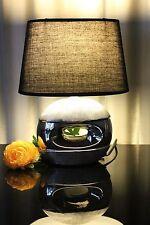 Skulptur Lampe silber Nachttischlampe Tischleuchte Leuchte Tischlampe Keramik