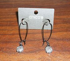 NEW Chico's Perfect Pave Earring Pull-Through Hematite-Hued Pierced Ears NWT $25