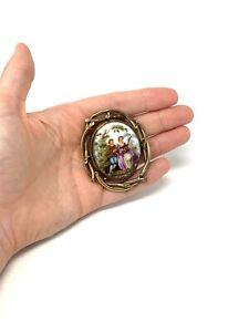Superb Antique Victorian Gold Plate Porcelain Mourning Brooch #1592