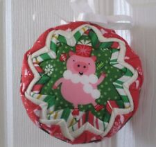 Christmas pig, pink,  4 inch round ball decoration, made in USA
