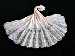 "Vintage Flouncy Waist Slip M Pink Van Raalte Opaquelon 9"" Lace Hem Petticoat"