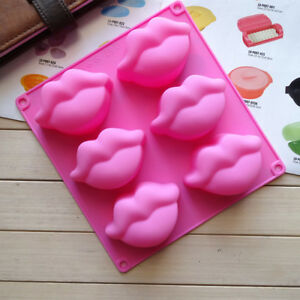 6 Silicone Lip Shape Cube Tray Mold Valentines Date Gift Cake Chocolate Mould