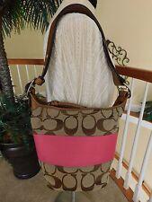 Coach Signature Stripe Tan/Pink Rugby Duffle Bucket Shoulder Handbag F13362