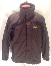 F738 Jack Wolfskin Jacket Medium Gray Black Hooded Outdoors Full Zip Men's