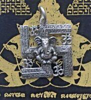 Talisman CROIX INDE GANESH amulette PENDENTIF laiton argenté Thaïlande AA22