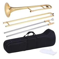 Professional Alto Trombone Brass Gold Bb Tone with Case Care Kit+US Deliver