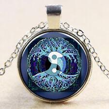 Baum des Lebens Ying Yang Cabochon Halskette Silber Blau Yin Yang Lebensbaum