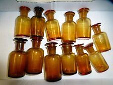 12 alte braune Apotheken Flaschen Glas Schliff Stopfen vintage medicine bottles