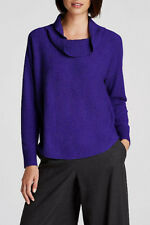 Eileen Fisher Blue Violet Draped Turtleneck Wool Pullover Sweater 12 14 L