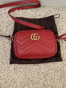 GUCCI Marmont GG Matelasse Mini Red Leather Crossbody Shoulder Camera Bag