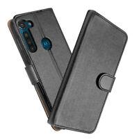 SDTEK Motorola Moto G8 Power Coque Housse Portefeuille Etui Cuir Flip (Noir)