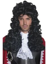 Black Pirate Captain Wig Long & Curly Adult Mens Smiffys Fancy Dress Costume