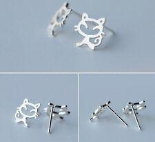 925 Sterling Silver Cat Kitty Kitten Designer Earrings Stud Novelty gift box L42